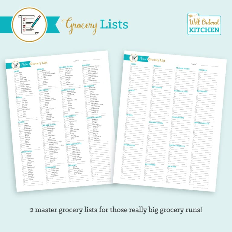 Well Ordered Kitchen Grocery List